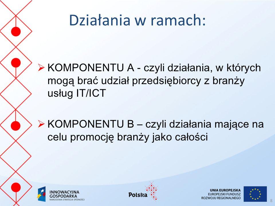 Działania w ramach:  KOMPONENTU A - czyli działania, w których mogą brać udział przedsiębiorcy z branży usług IT/ICT  KOMPONENTU B – czyli działania mające na celu promocję branży jako całości 8