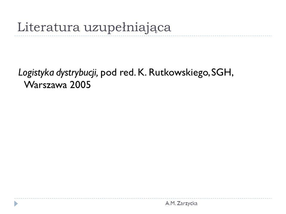 Literatura uzupełniająca Logistyka dystrybucji, pod red. K. Rutkowskiego, SGH, Warszawa 2005 A.M. Zarzycka