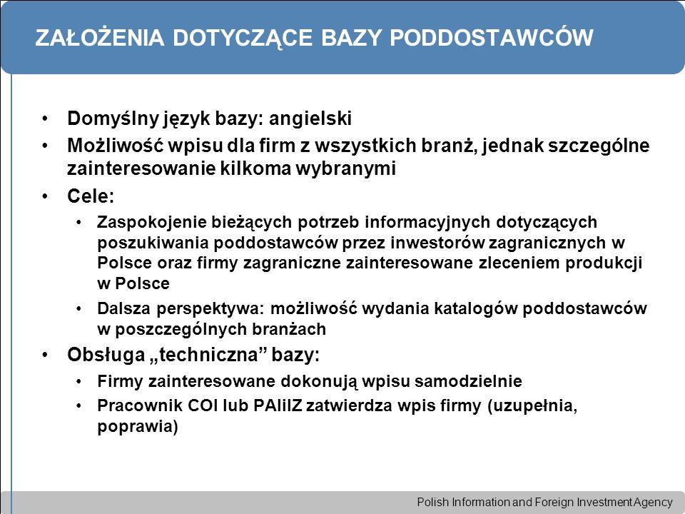 Polish Information and Foreign Investment Agency ZAŁOŻENIA DOTYCZĄCE BAZY PODDOSTAWCÓW Domyślny język bazy: angielski Możliwość wpisu dla firm z wszys