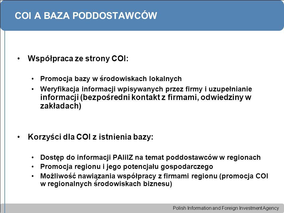 Polish Information and Foreign Investment Agency COI A BAZA PODDOSTAWCÓW Współpraca ze strony COI: Promocja bazy w środowiskach lokalnych Weryfikacja