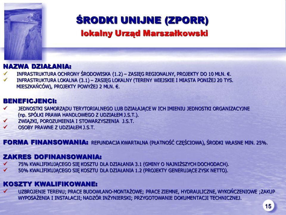 15 ŚRODKI UNIJNE (ZPORR) lokalny Urząd Marszałkowski ŚRODKI UNIJNE (ZPORR) lokalny Urząd Marszałkowski NAZWA DZIAŁANIA: INFRASTRUKTURA OCHRONY ŚRODOWISKA (1.2) – ZASIĘG REGIONALNY, PROJEKTY DO 10 MLN.