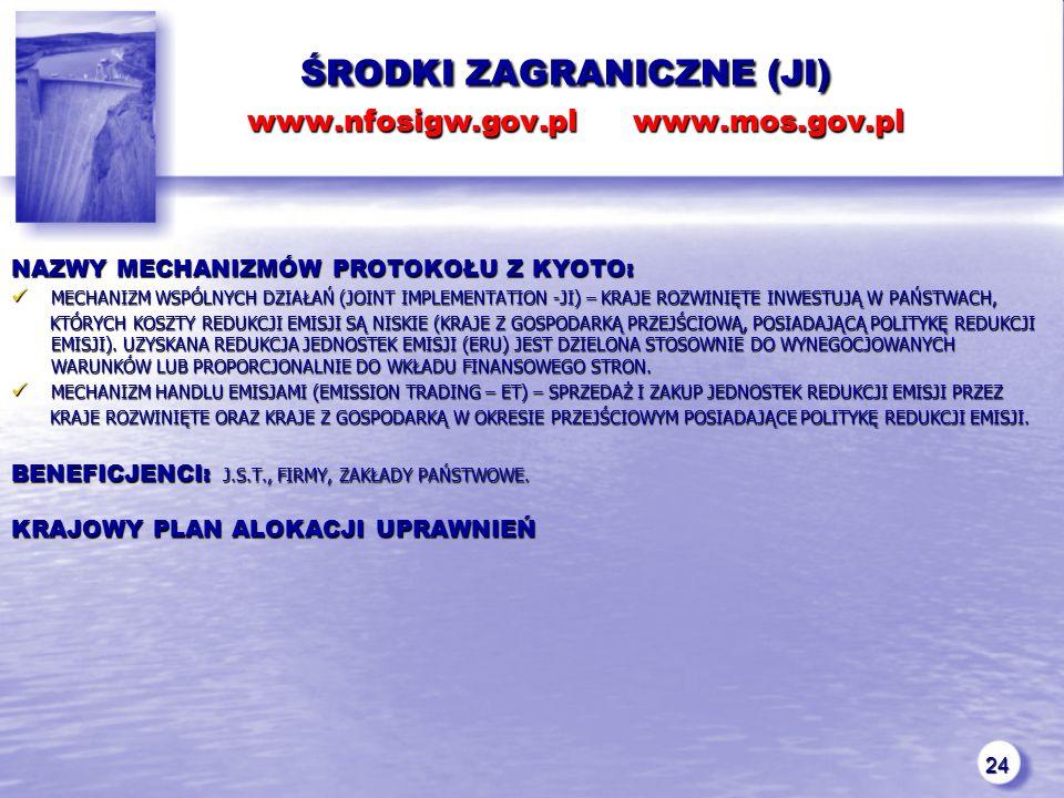 24 ŚRODKI ZAGRANICZNE (JI) www.nfosigw.gov.pl www.mos.gov.pl ŚRODKI ZAGRANICZNE (JI) www.nfosigw.gov.pl www.mos.gov.pl NAZWY MECHANIZMÓW PROTOKOŁU Z KYOTO: MECHANIZM WSPÓLNYCH DZIAŁAŃ (JOINT IMPLEMENTATION -JI) – KRAJE ROZWINIĘTE INWESTUJĄ W PAŃSTWACH, MECHANIZM WSPÓLNYCH DZIAŁAŃ (JOINT IMPLEMENTATION -JI) – KRAJE ROZWINIĘTE INWESTUJĄ W PAŃSTWACH, KTÓRYCH KOSZTY REDUKCJI EMISJI SĄ NISKIE (KRAJE Z GOSPODARKĄ PRZEJŚCIOWĄ, POSIADAJĄCĄ POLITYKĘ REDUKCJI EMISJI).