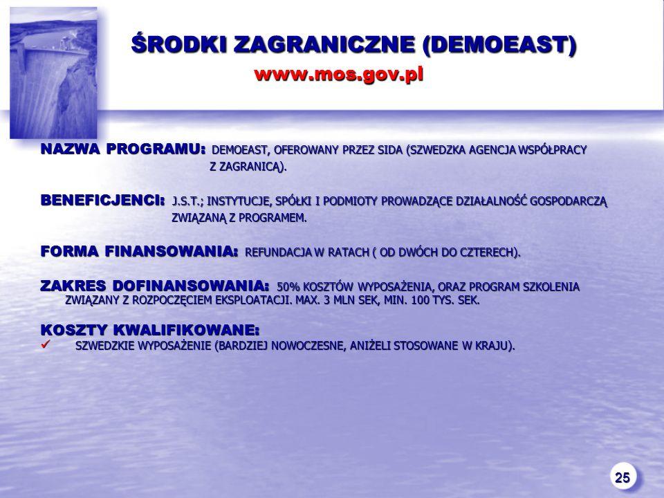 25 ŚRODKI ZAGRANICZNE (DEMOEAST) www.mos.gov.pl ŚRODKI ZAGRANICZNE (DEMOEAST) www.mos.gov.pl NAZWA PROGRAMU: DEMOEAST, OFEROWANY PRZEZ SIDA (SZWEDZKA AGENCJA WSPÓŁPRACY Z ZAGRANICĄ).