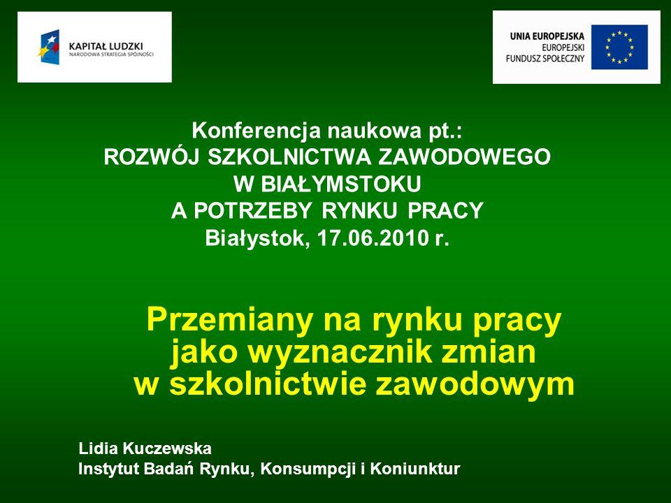 Konferencja naukowa pt.: ROZWÓJ SZKOLNICTWA ZAWODOWEGO W BIAŁYMSTOKU A POTRZEBY RYNKU PRACY Białystok, 17.06.2010 r.