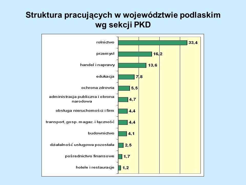 Struktura pracujących w województwie podlaskim wg sekcji PKD