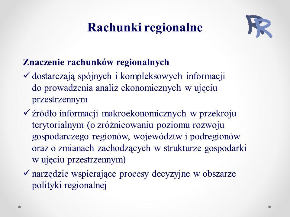 Znaczenie rachunków regionalnych dostarczają spójnych i kompleksowych informacji do prowadzenia analiz ekonomicznych w ujęciu przestrzennym źródło informacji makroekonomicznych w przekroju terytorialnym (o zróżnicowaniu poziomu rozwoju gospodarczego regionów, województw i podregionów oraz o zmianach zachodzących w strukturze gospodarki w ujęciu przestrzennym) narzędzie wspierające procesy decyzyjne w obszarze polityki regionalnej