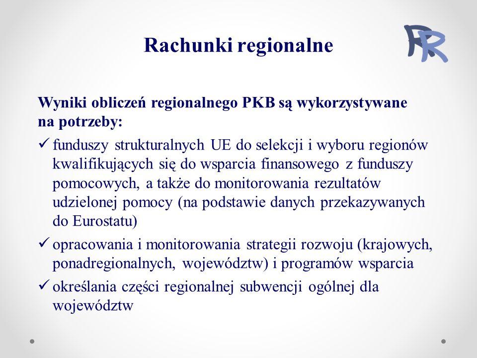 Rachunki regionalne Wyniki obliczeń regionalnego PKB są wykorzystywane na potrzeby: funduszy strukturalnych UE do selekcji i wyboru regionów kwalifikujących się do wsparcia finansowego z funduszy pomocowych, a także do monitorowania rezultatów udzielonej pomocy (na podstawie danych przekazywanych do Eurostatu) opracowania i monitorowania strategii rozwoju (krajowych, ponadregionalnych, województw) i programów wsparcia określania części regionalnej subwencji ogólnej dla województw