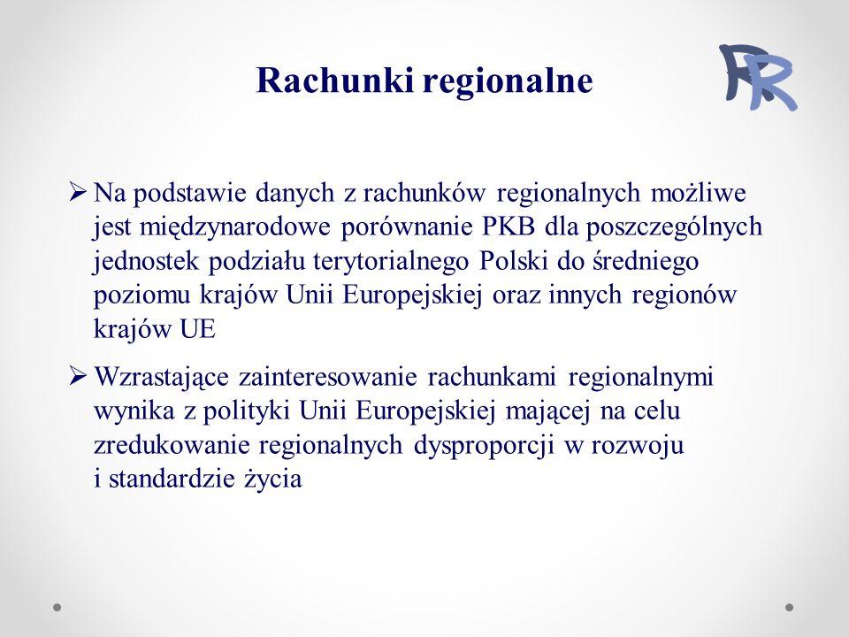 Rachunki regionalne  Na podstawie danych z rachunków regionalnych możliwe jest międzynarodowe porównanie PKB dla poszczególnych jednostek podziału terytorialnego Polski do średniego poziomu krajów Unii Europejskiej oraz innych regionów krajów UE  Wzrastające zainteresowanie rachunkami regionalnymi wynika z polityki Unii Europejskiej mającej na celu zredukowanie regionalnych dysproporcji w rozwoju i standardzie życia