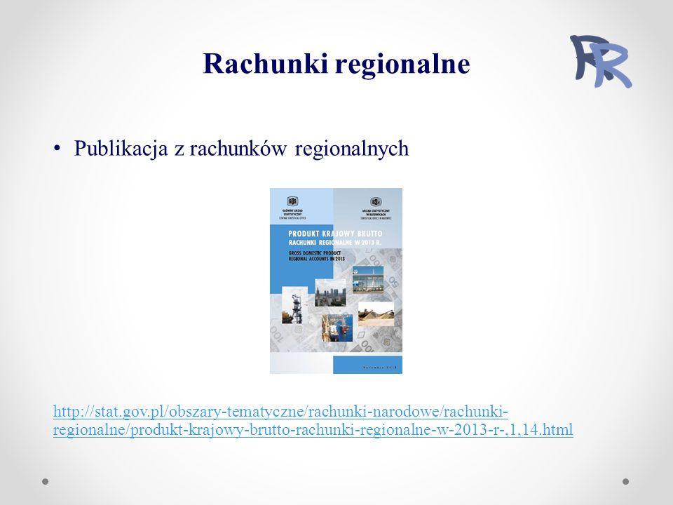 Publikacja z rachunków regionalnych http://stat.gov.pl/obszary-tematyczne/rachunki-narodowe/rachunki- regionalne/produkt-krajowy-brutto-rachunki-regionalne-w-2013-r-,1,14.html Rachunki regionalne