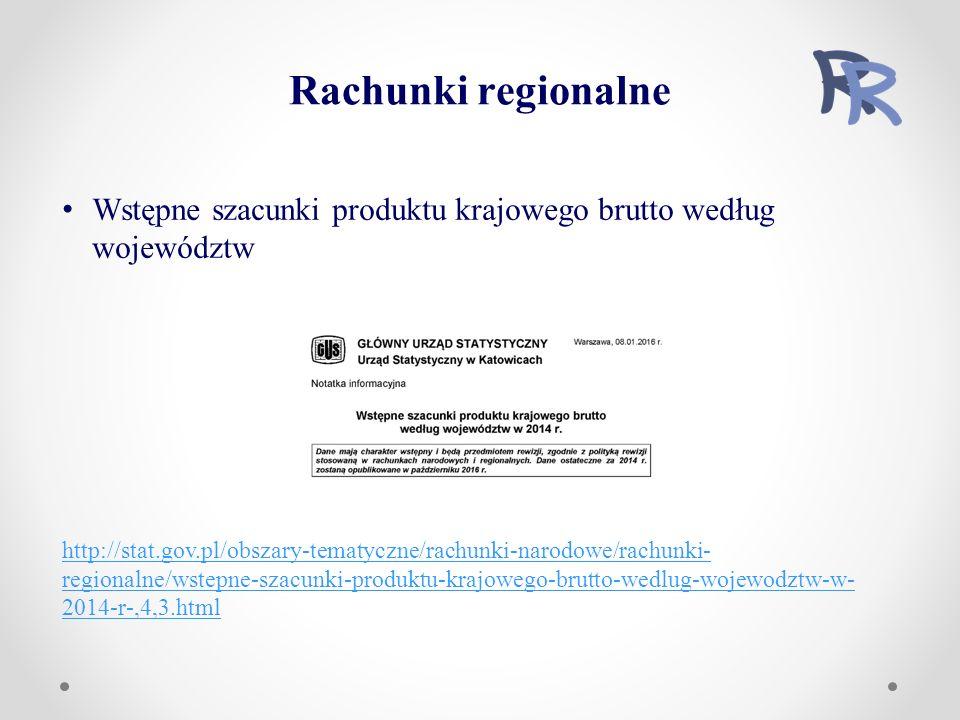 Wstępne szacunki produktu krajowego brutto według województw http://stat.gov.pl/obszary-tematyczne/rachunki-narodowe/rachunki- regionalne/wstepne-szacunki-produktu-krajowego-brutto-wedlug-wojewodztw-w- 2014-r-,4,3.html Rachunki regionalne