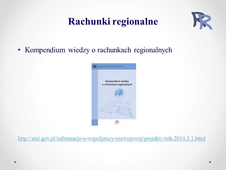 Kompendium wiedzy o rachunkach regionalnych http://stat.gov.pl/informacje-o-wspolpracy-rozwojowej/projekty/rok-2014,3,1.html Rachunki regionalne