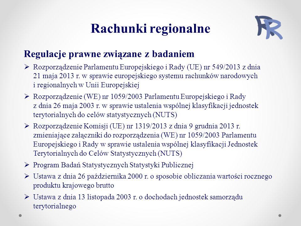 Regulacje prawne związane z badaniem  Rozporządzenie Parlamentu Europejskiego i Rady (UE) nr 549/2013 z dnia 21 maja 2013 r.