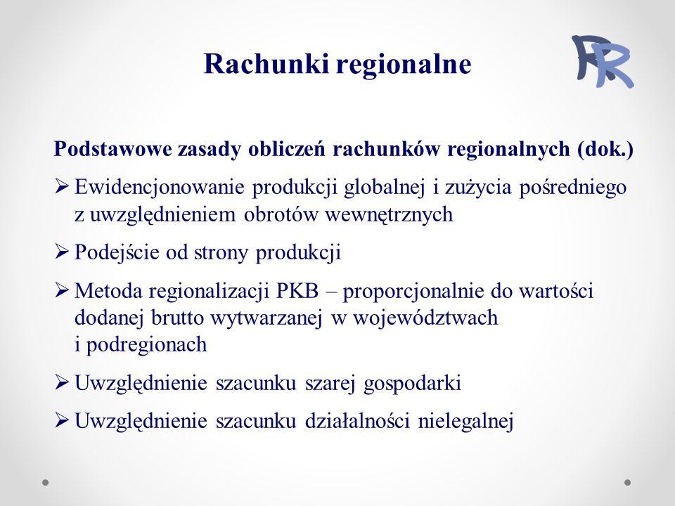 Rachunki regionalne Podstawowe zasady obliczeń rachunków regionalnych (dok.)  Ewidencjonowanie produkcji globalnej i zużycia pośredniego z uwzględnieniem obrotów wewnętrznych  Podejście od strony produkcji  Metoda regionalizacji PKB – proporcjonalnie do wartości dodanej brutto wytwarzanej w województwach i podregionach  Uwzględnienie szacunku szarej gospodarki  Uwzględnienie szacunku działalności nielegalnej