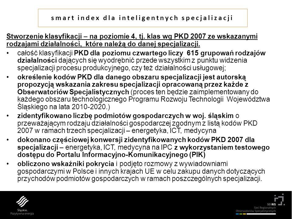 smart index dla inteligentnych specjalizacji Stworzenie klasyfikacji – na poziomie 4, tj.