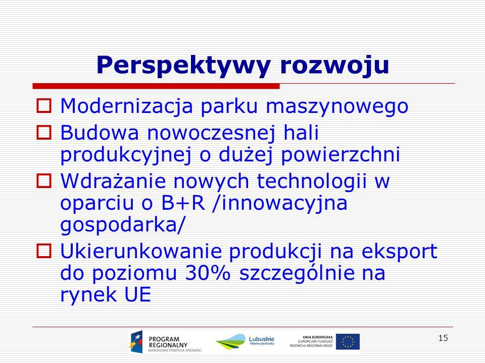15 Perspektywy rozwoju  Modernizacja parku maszynowego  Budowa nowoczesnej hali produkcyjnej o dużej powierzchni  Wdrażanie nowych technologii w oparciu o B+R /innowacyjna gospodarka/  Ukierunkowanie produkcji na eksport do poziomu 30% szczególnie na rynek UE