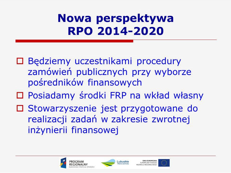 Nowa perspektywa RPO 2014-2020  Będziemy uczestnikami procedury zamówień publicznych przy wyborze pośredników finansowych  Posiadamy środki FRP na wkład własny  Stowarzyszenie jest przygotowane do realizacji zadań w zakresie zwrotnej inżynierii finansowej