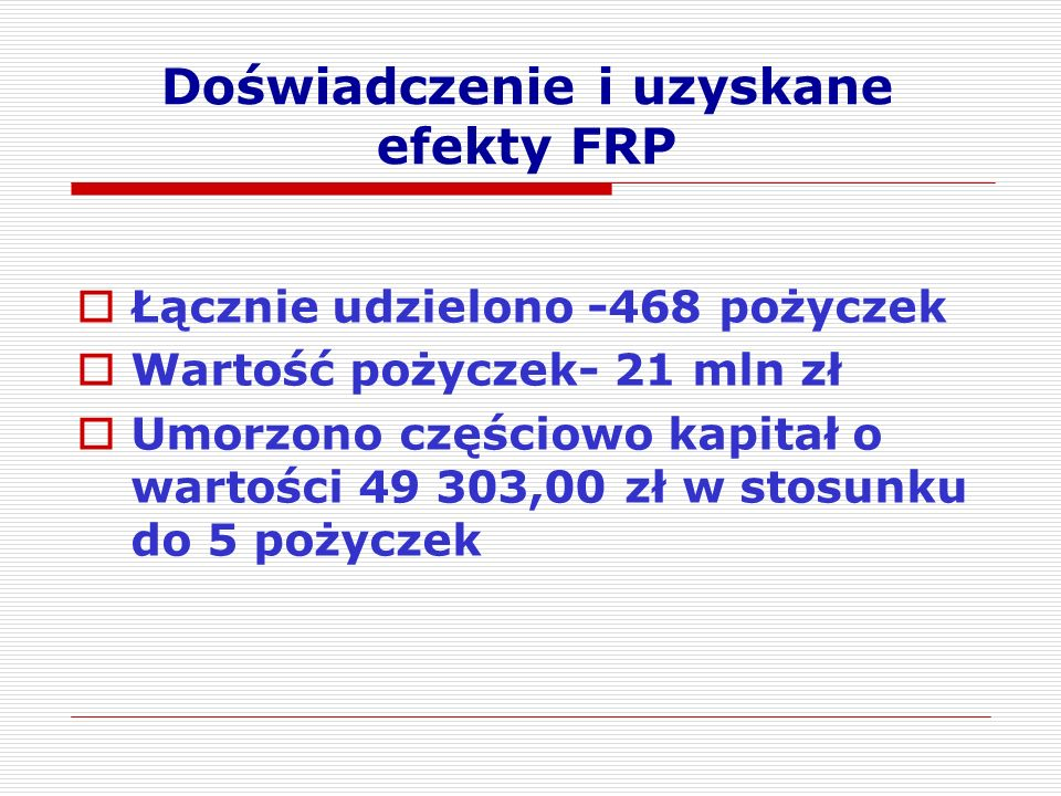 Doświadczenie i uzyskane efekty FRP  Łącznie udzielono -468 pożyczek  Wartość pożyczek- 21 mln zł  Umorzono częściowo kapitał o wartości 49 303,00 zł w stosunku do 5 pożyczek