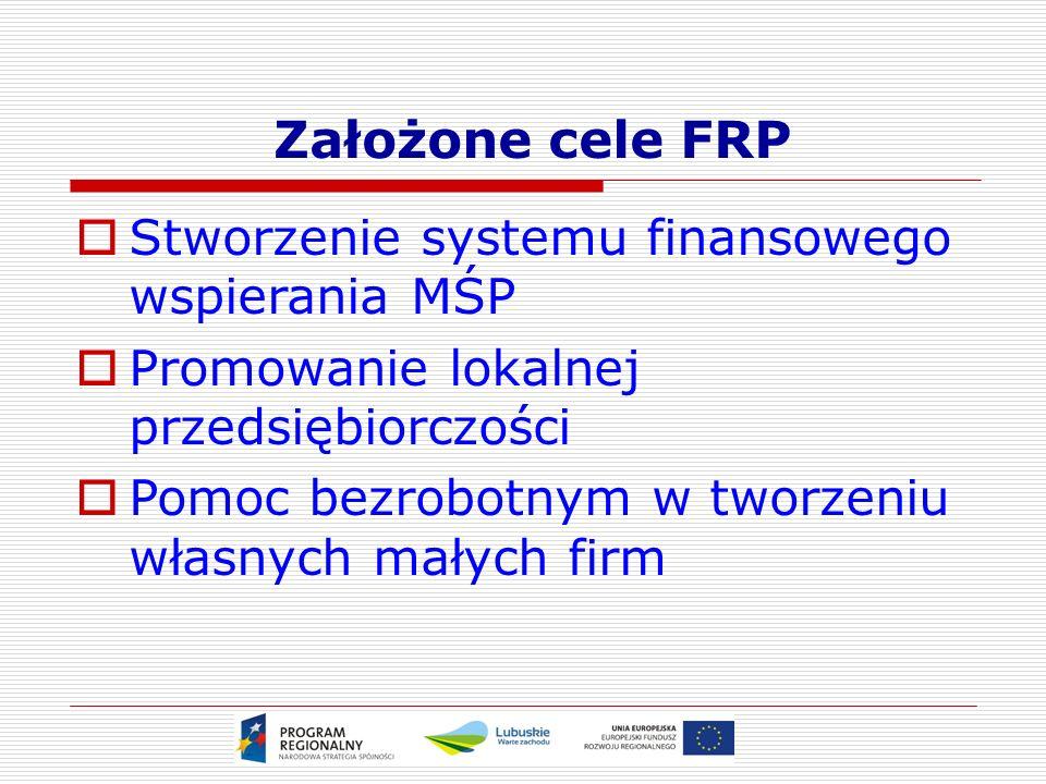 Założone cele FRP  Stworzenie systemu finansowego wspierania MŚP  Promowanie lokalnej przedsiębiorczości  Pomoc bezrobotnym w tworzeniu własnych małych firm