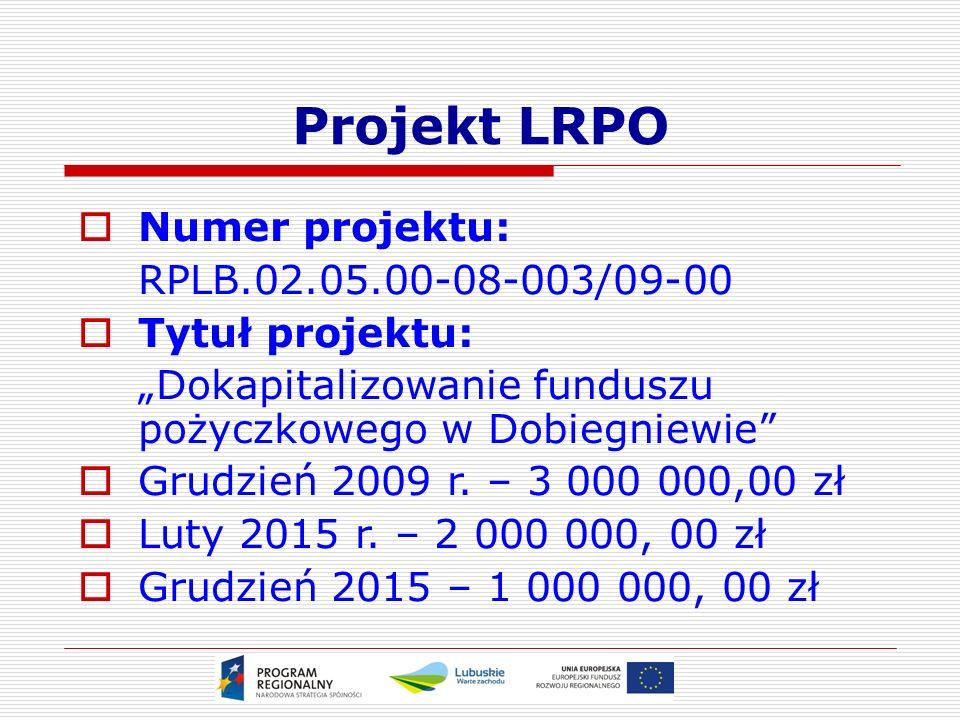 """Projekt LRPO  Numer projektu: RPLB.02.05.00-08-003/09-00  Tytuł projektu: """"Dokapitalizowanie funduszu pożyczkowego w Dobiegniewie  Grudzień 2009 r."""