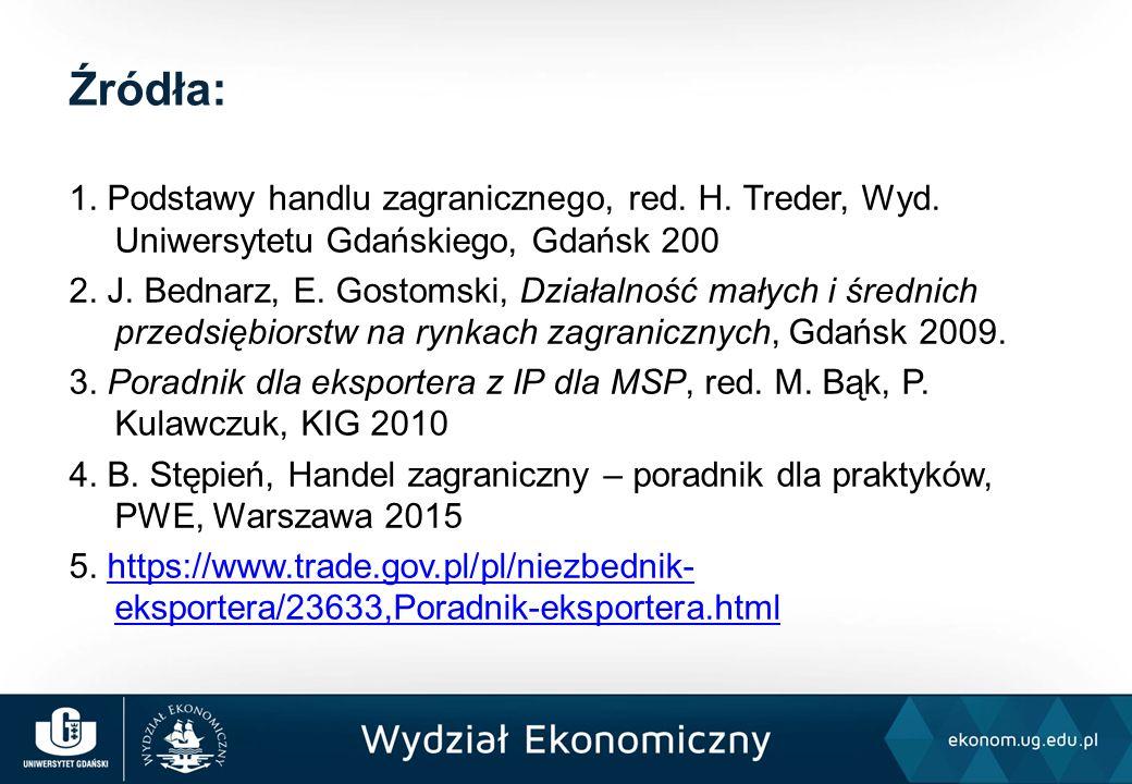 1. Podstawy handlu zagranicznego, red. H. Treder, Wyd.