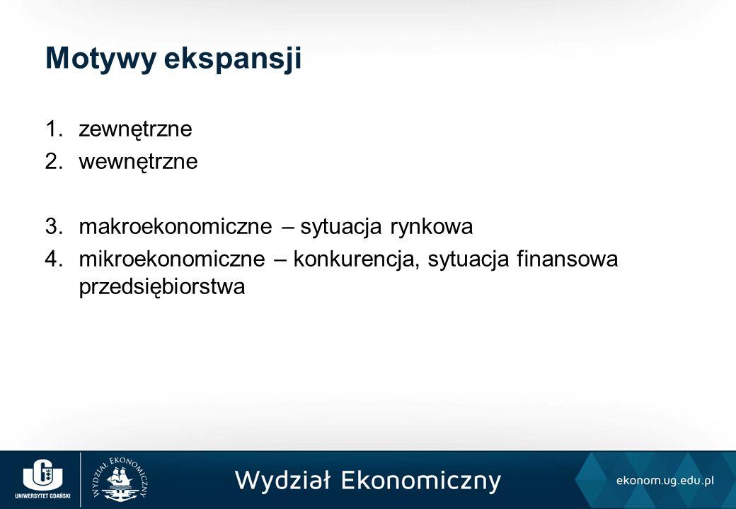 1.zewnętrzne 2.wewnętrzne 3.makroekonomiczne – sytuacja rynkowa 4.mikroekonomiczne – konkurencja, sytuacja finansowa przedsiębiorstwa Motywy ekspansji