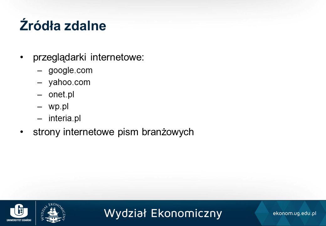 przeglądarki internetowe: –google.com –yahoo.com –onet.pl –wp.pl –interia.pl strony internetowe pism branżowych Źródła zdalne