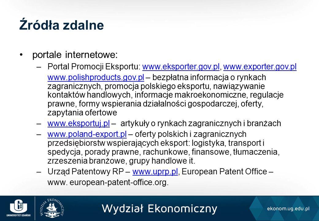 portale internetowe: –Portal Promocji Eksportu: www.eksporter.gov.pl, www.exporter.gov.plwww.eksporter.gov.plwww.exporter.gov.pl www.polishproducts.gov.plwww.polishproducts.gov.pl – bezpłatna informacja o rynkach zagranicznych, promocja polskiego eksportu, nawiązywanie kontaktów handlowych, informacje makroekonomiczne, regulacje prawne, formy wspierania działalności gospodarczej, oferty, zapytania ofertowe –www.eksportuj.pl – artykuły o rynkach zagranicznych i branżachwww.eksportuj.pl –www.poland-export.pl – oferty polskich i zagranicznych przedsiębiorstw wspierających eksport: logistyka, transport i spedycja, porady prawne, rachunkowe, finansowe, tłumaczenia, zrzeszenia branżowe, grupy handlowe it.www.poland-export.pl –Urząd Patentowy RP – www.uprp.pl, European Patent Office –www.uprp.pl www.