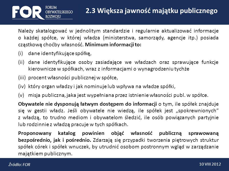 2.3 Większa jawność majątku publicznego 10 VIII 2012 Źródło: FOR Należy skatalogować w jednolitym standardzie i regularnie aktualizować informacje o każdej spółce, w której władza (ministerstwa, samorządy, agencje itp.) posiada cząstkową choćby własność.