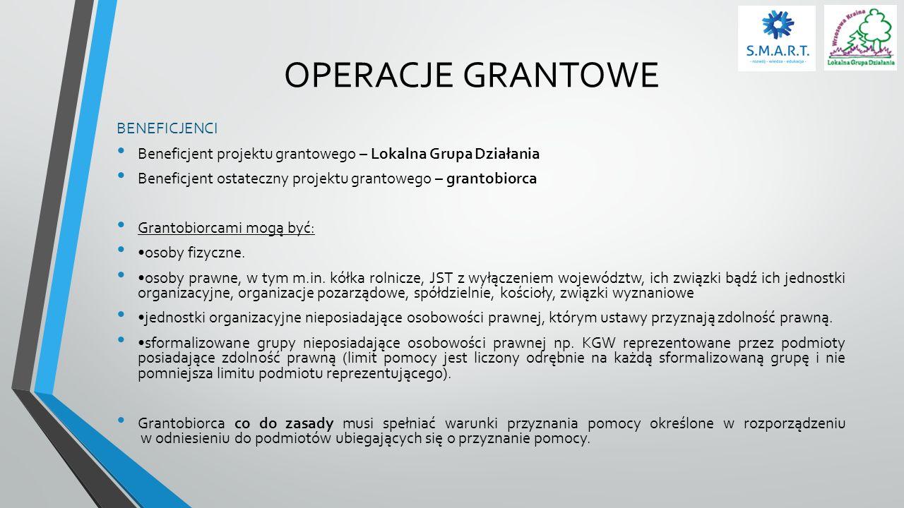 OPERACJE GRANTOWE BENEFICJENCI Beneficjent projektu grantowego – Lokalna Grupa Działania Beneficjent ostateczny projektu grantowego – grantobiorca Gra