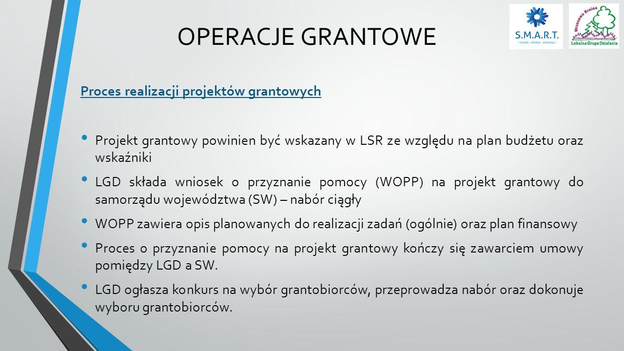 OPERACJE GRANTOWE Proces realizacji projektów grantowych Projekt grantowy powinien być wskazany w LSR ze względu na plan budżetu oraz wskaźniki LGD sk