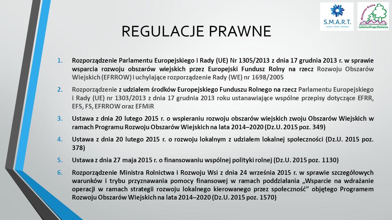 REGULACJE PRAWNE 1.Rozporządzenie Parlamentu Europejskiego i Rady (UE) Nr 1305/2013 z dnia 17 grudnia 2013 r. w sprawie wsparcia rozwoju obszarów wiej