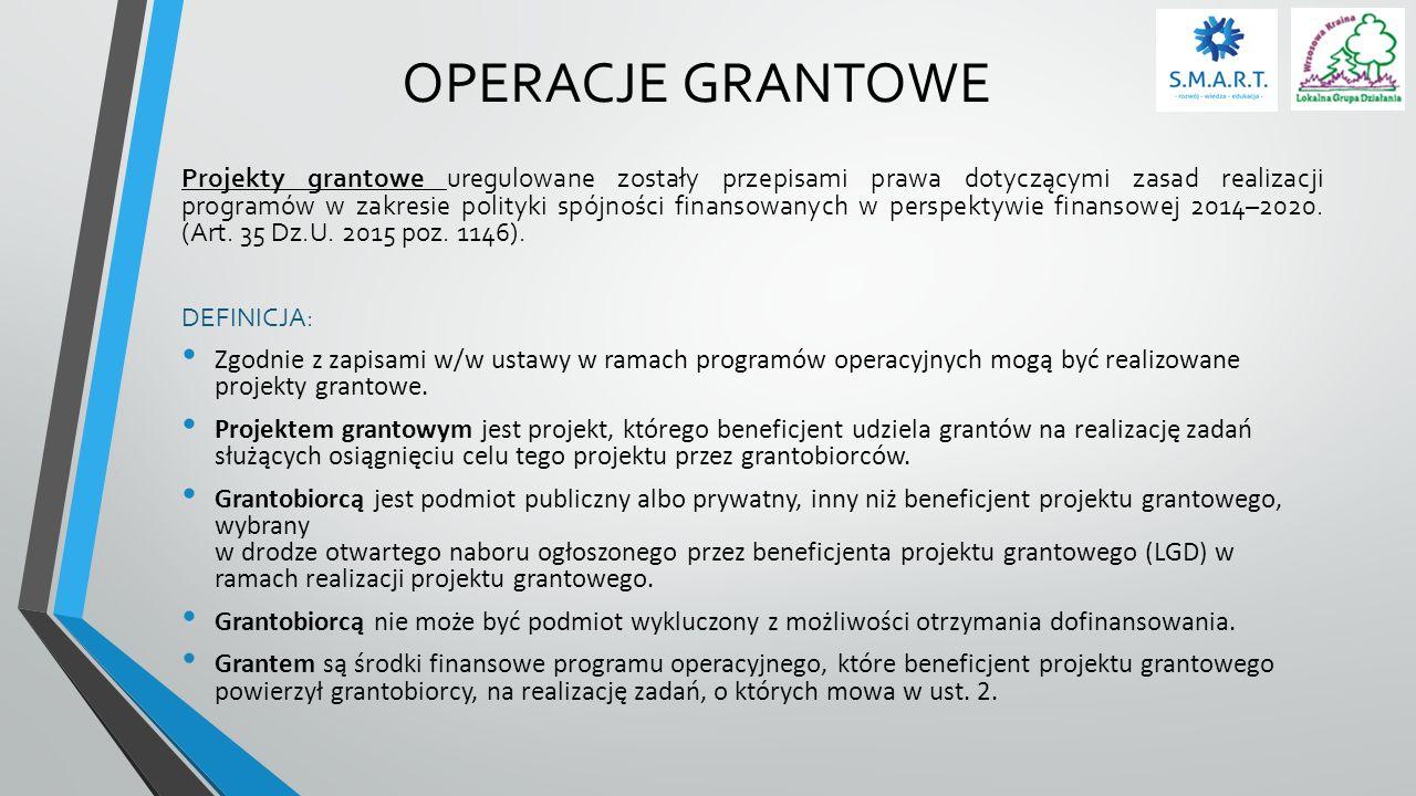 OPERACJE GRANTOWE UMOWA O POWIERZENIE GRANTU (art.