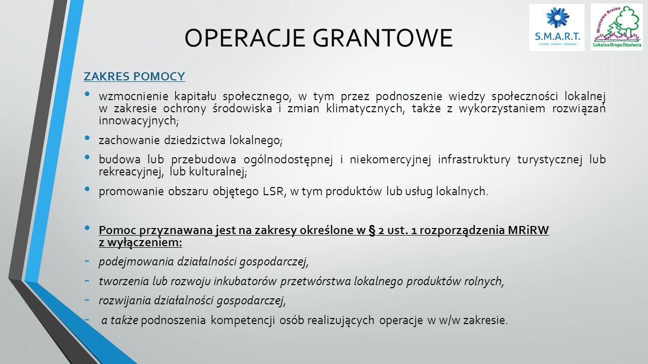 OPERACJE GRANTOWE KOSZTY KWALIFIKOWALNE 1.ogólne (od dnia 1 stycznia 2014 r.), 2.zakup robót budowlanych lub usług, 3.