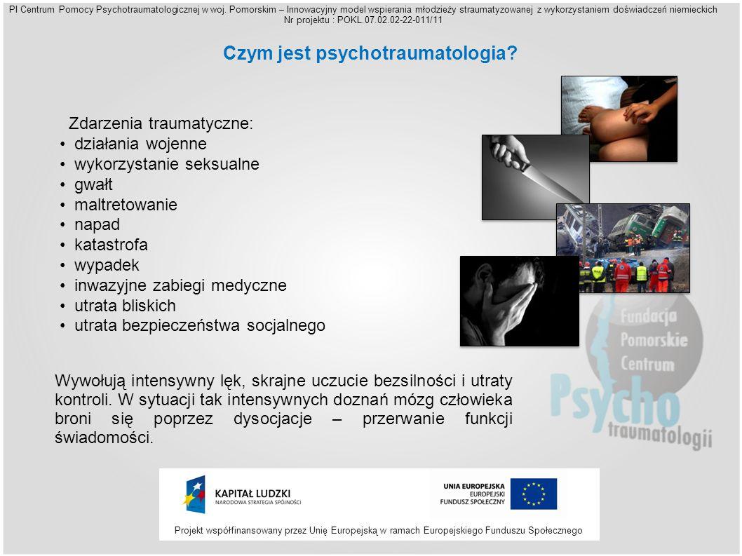 Projekt współfinansowany przez Unię Europejską w ramach Europejskiego Funduszu Społecznego PI Centrum Pomocy Psychotraumatologicznej w woj.