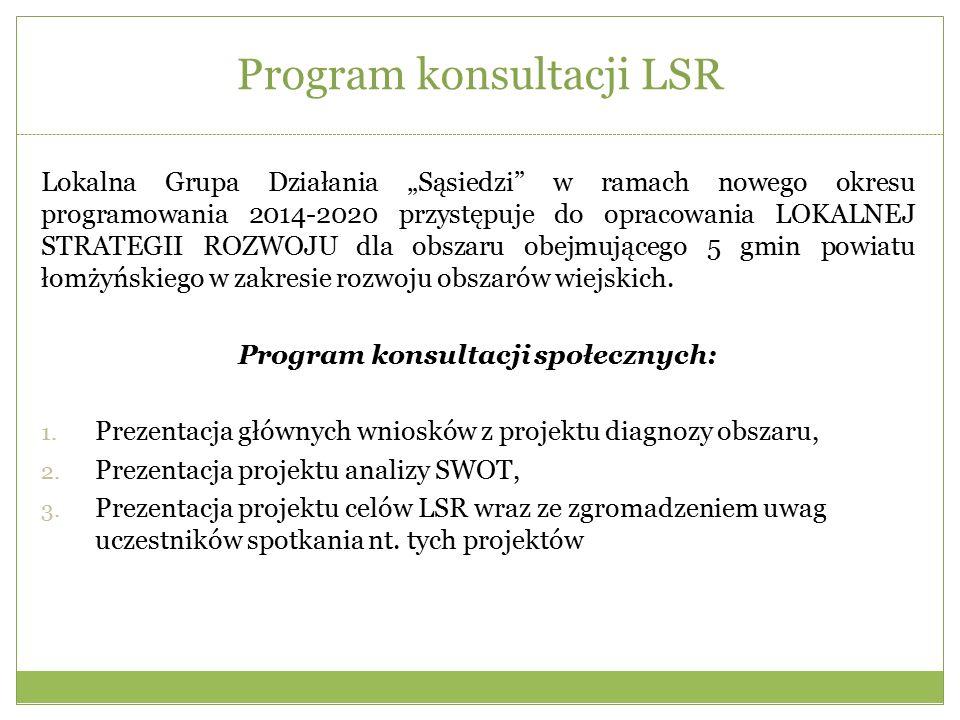 """Program konsultacji LSR Lokalna Grupa Działania """"Sąsiedzi w ramach nowego okresu programowania 2014-2020 przystępuje do opracowania LOKALNEJ STRATEGII ROZWOJU dla obszaru obejmującego 5 gmin powiatu łomżyńskiego w zakresie rozwoju obszarów wiejskich."""