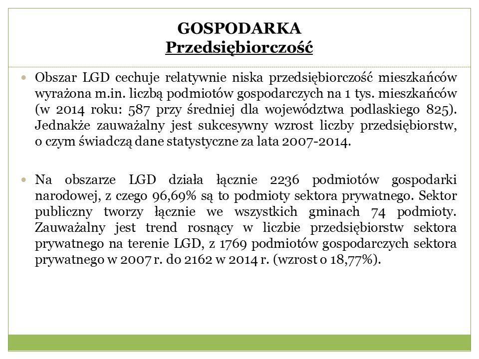 GOSPODARKA Przedsiębiorczość Obszar LGD cechuje relatywnie niska przedsiębiorczość mieszkańców wyrażona m.in.