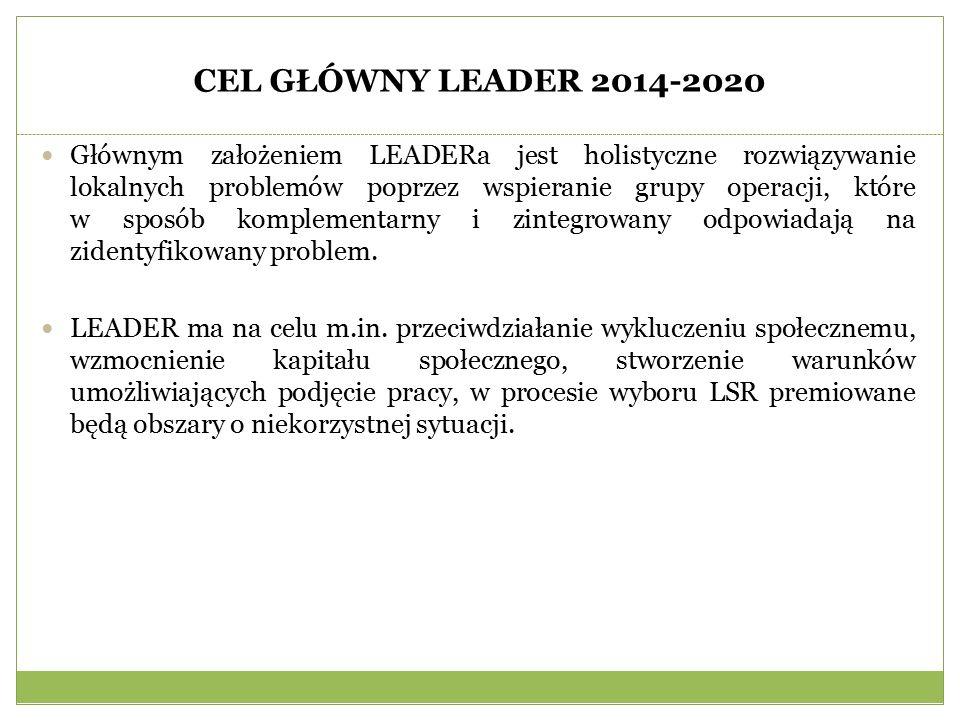 CEL GŁÓWNY LEADER 2014-2020 Głównym założeniem LEADERa jest holistyczne rozwiązywanie lokalnych problemów poprzez wspieranie grupy operacji, które w sposób komplementarny i zintegrowany odpowiadają na zidentyfikowany problem.