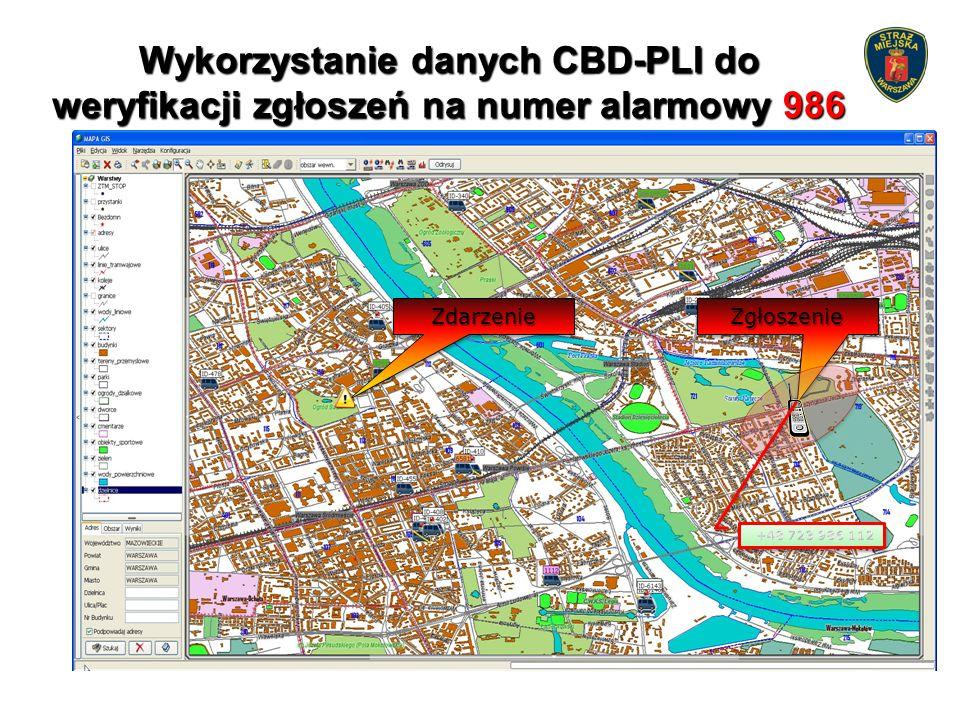 Wykorzystanie danych CBD-PLI do weryfikacji zgłoszeń na numer alarmowy 986 ZdarzenieZdarzenieZgłoszenieZgłoszenie