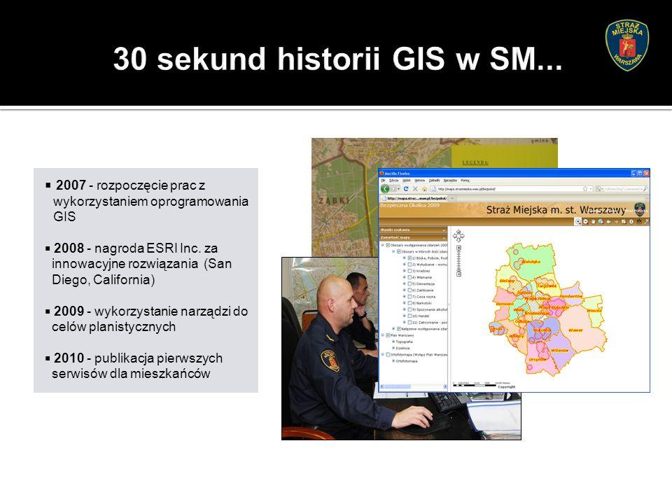  2007 - rozpoczęcie prac z wykorzystaniem oprogramowania GIS  2008 - nagroda ESRI Inc.