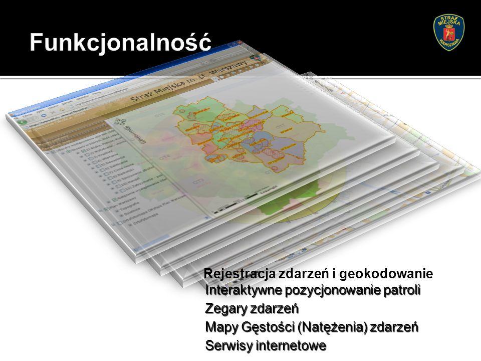 Rejestracja zdarzeń i geokodowanie Serwisy internetowe Interaktywne pozycjonowanie patroli Zegary zdarzeń Mapy Gęstości (Natężenia) zdarzeń