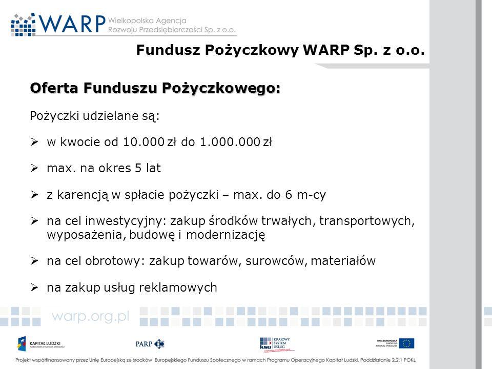 Oferta Funduszu Pożyczkowego: Pożyczki udzielane są:  w kwocie od 10.000 zł do 1.000.000 zł  max. na okres 5 lat  z karencją w spłacie pożyczki – m