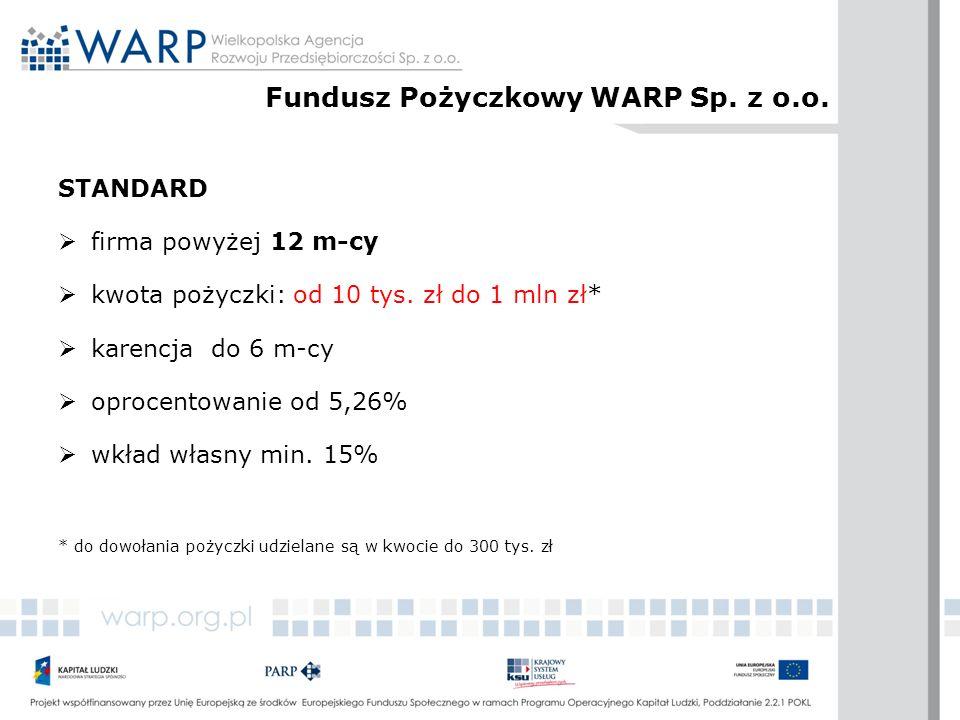 STANDARD  firma powyżej 12 m-cy  kwota pożyczki: od 10 tys. zł do 1 mln zł*  karencja do 6 m-cy  oprocentowanie od 5,26%  wkład własny min. 15% *