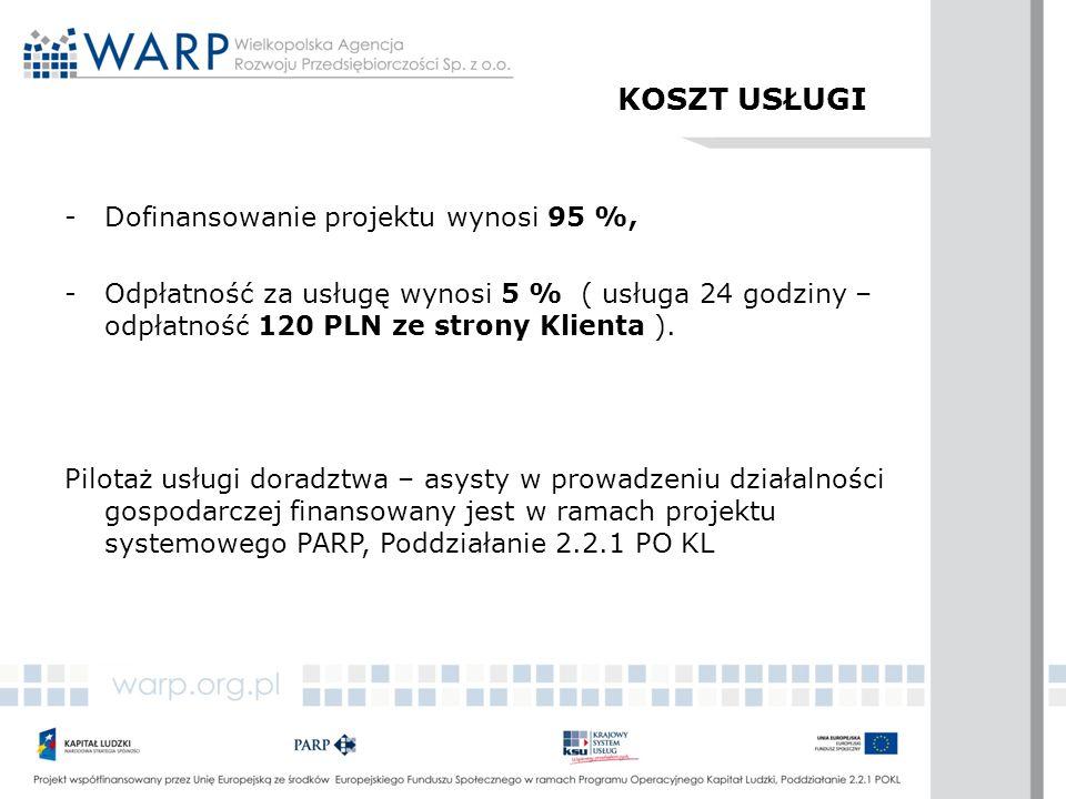 KOSZT USŁUGI -Dofinansowanie projektu wynosi 95 %, -Odpłatność za usługę wynosi 5 % ( usługa 24 godziny – odpłatność 120 PLN ze strony Klienta ). Pilo