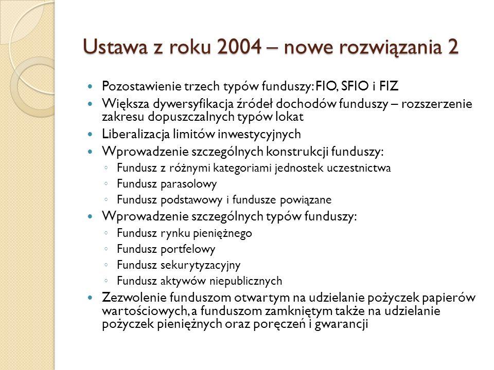 Ustawa z roku 2004 – nowe rozwiązania 2 Pozostawienie trzech typów funduszy: FIO, SFIO i FIZ Większa dywersyfikacja źródeł dochodów funduszy – rozszerzenie zakresu dopuszczalnych typów lokat Liberalizacja limitów inwestycyjnych Wprowadzenie szczególnych konstrukcji funduszy: ◦ Fundusz z różnymi kategoriami jednostek uczestnictwa ◦ Fundusz parasolowy ◦ Fundusz podstawowy i fundusze powiązane Wprowadzenie szczególnych typów funduszy: ◦ Fundusz rynku pieniężnego ◦ Fundusz portfelowy ◦ Fundusz sekurytyzacyjny ◦ Fundusz aktywów niepublicznych Zezwolenie funduszom otwartym na udzielanie pożyczek papierów wartościowych, a funduszom zamkniętym także na udzielanie pożyczek pieniężnych oraz poręczeń i gwarancji