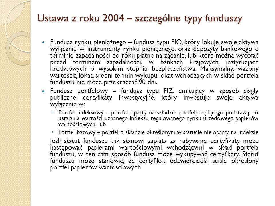 Ustawa z roku 2004 – szczególne typy funduszy Fundusz rynku pieniężnego – fundusz typu FIO, który lokuje swoje aktywa wyłącznie w instrumenty rynku pieniężnego, oraz depozyty bankowego o terminie zapadalności do roku płatne na żądanie, lub które można wycofać przed terminem zapadalności, w bankach krajowych, instytucjach kredytowych o wysokim stopniu bezpieczeństwa.
