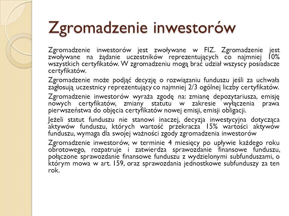 Zgromadzenie inwestorów Zgromadzenie inwestorów jest zwoływane w FIZ.