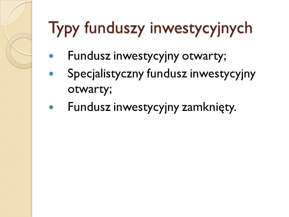 Typy funduszy inwestycyjnych Fundusz inwestycyjny otwarty; Specjalistyczny fundusz inwestycyjny otwarty; Fundusz inwestycyjny zamknięty.