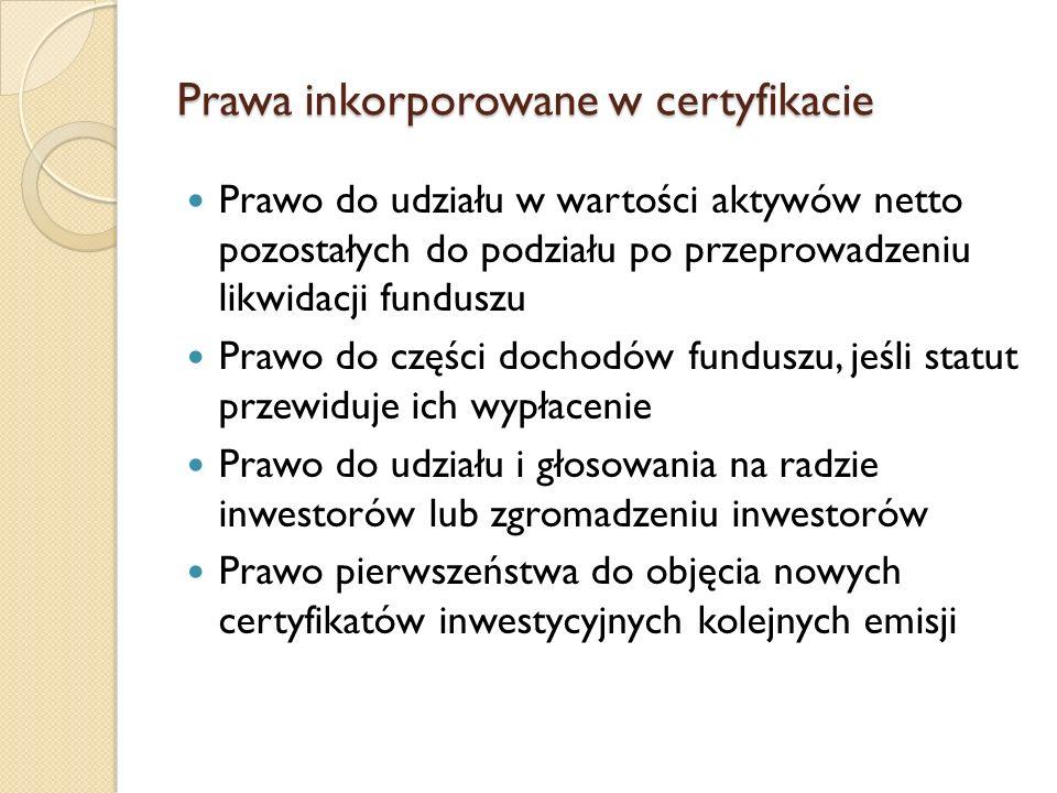 Prawa inkorporowane w certyfikacie Prawo do udziału w wartości aktywów netto pozostałych do podziału po przeprowadzeniu likwidacji funduszu Prawo do części dochodów funduszu, jeśli statut przewiduje ich wypłacenie Prawo do udziału i głosowania na radzie inwestorów lub zgromadzeniu inwestorów Prawo pierwszeństwa do objęcia nowych certyfikatów inwestycyjnych kolejnych emisji