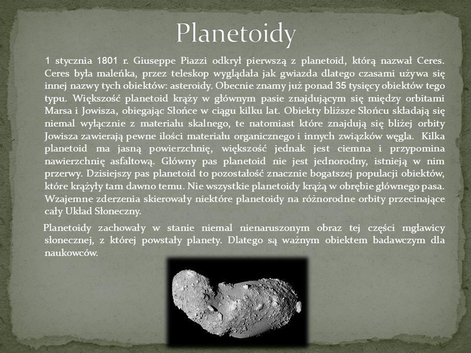 1 stycznia 1801 r. Giuseppe Piazzi odkrył pierwszą z planetoid, którą nazwał Ceres. Ceres była maleńka, przez teleskop wyglądała jak gwiazda dlatego c