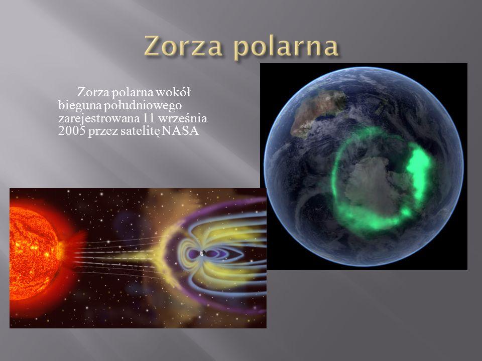 Zorza polarna wokół bieguna południowego zarejestrowana 11 września 2005 przez satelitę NASA